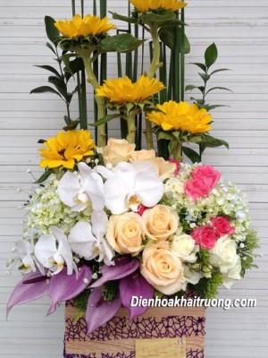 Hộp gỗ cắm hoa khai trương