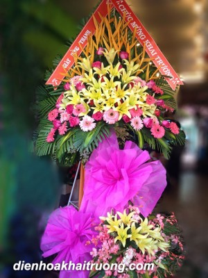 Kệ hoa đẹp tặng khai trương - Tài lộc.
