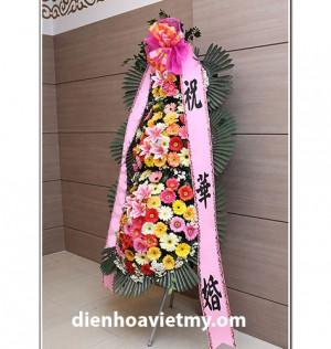 Kệ hoa khai trương đẹp cắm theo phong cách Hàn Quốc, đây là món quà ý nghĩa nhân ngày khai trương.